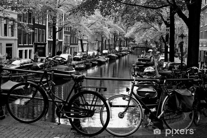Papier peint vinyle Bloemgracht d'Amsterdam - Vélos