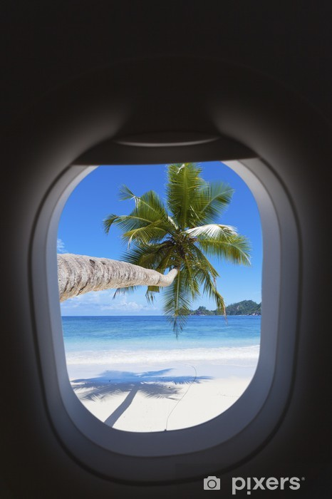 Fototapete Strand Paradies Tropischen Insel Durch Fenster Pixers