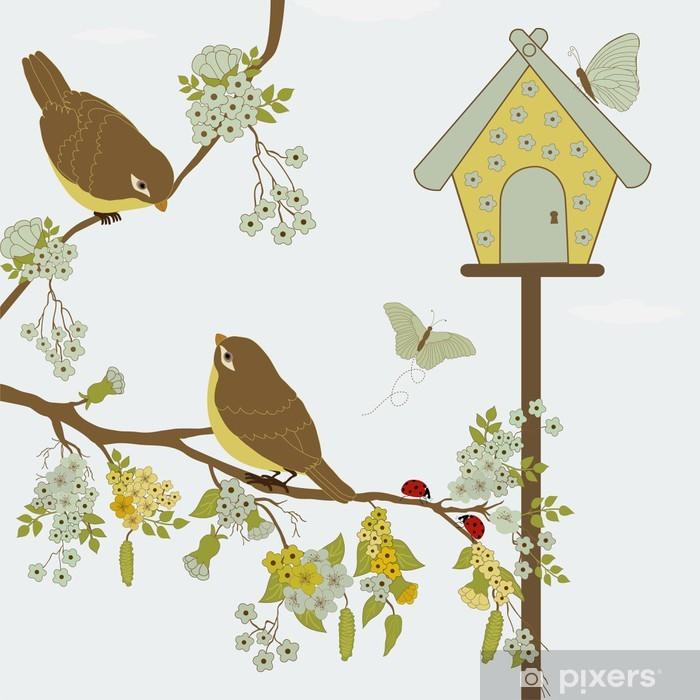 Papier Peint Oiseaux Sur La Branche Et Les Papillons Dans Le Jardin