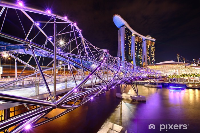 The Helix bridge with Marina Bay Sands in background Pixerstick Sticker - Themes