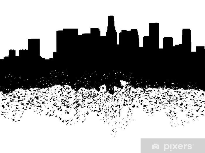 fototapete skyline von los angeles grunge silhouette illustration • pixers®  - wir leben, um zu verändern  pixers