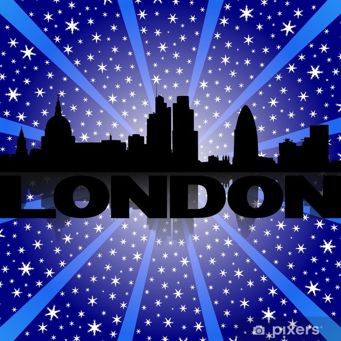 London skyline reflected with snow burst illustration Pixerstick Sticker -