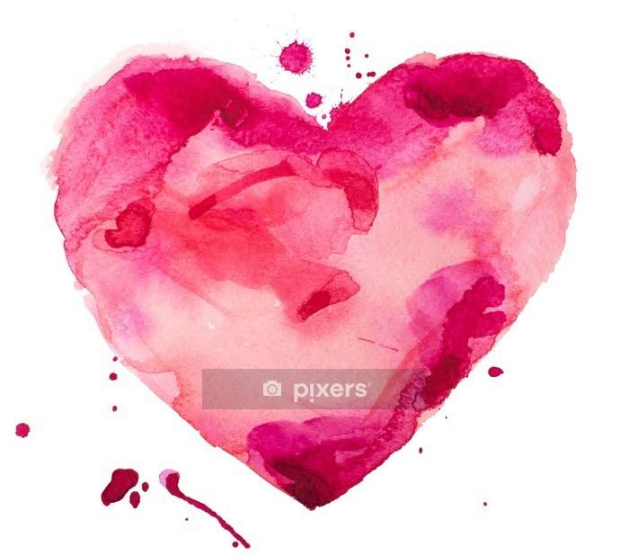 Akvarelli sydän. käsite - rakkaus, suhde, taide, maalaus Seinätarra - Käsite