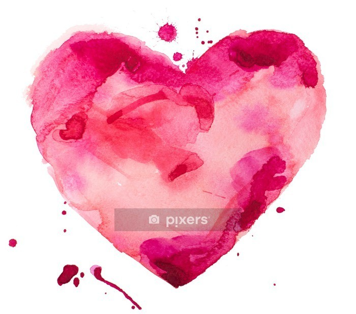 Vinilo para Pared Corazón acuarela. Concepto - el amor, la relación, el arte, la pintura - concepto