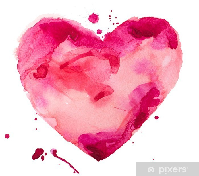 Pixerstick-klistremerke Akvarell hjerte. Konsept - kjærlighet, forhold, kunst, maleri - Konsept