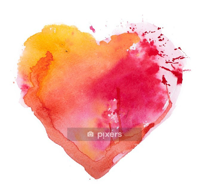 watercolor heart. Concept - love, relationship, art, painting Wall Decal - Themes