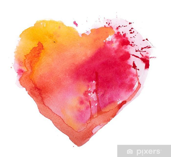Naklejka Pixerstick Akwarela serca. Koncepcja - miłość, związek, sztuki, malarstwo - Tematy