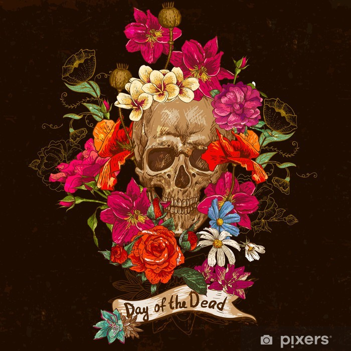 Fotomural Estándar Skull and Day Flowers of The Dead - Flores
