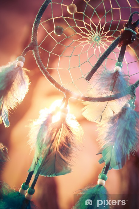 Fototapeta winylowa Dreamcatcher w lesie o zachodzie słońca -
