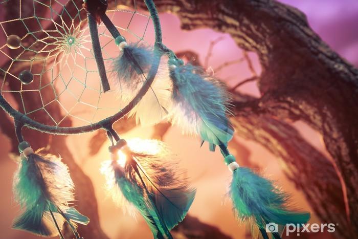 Fototapeta winylowa Dreamcatcher w lesie o zachodzie słońca - Style