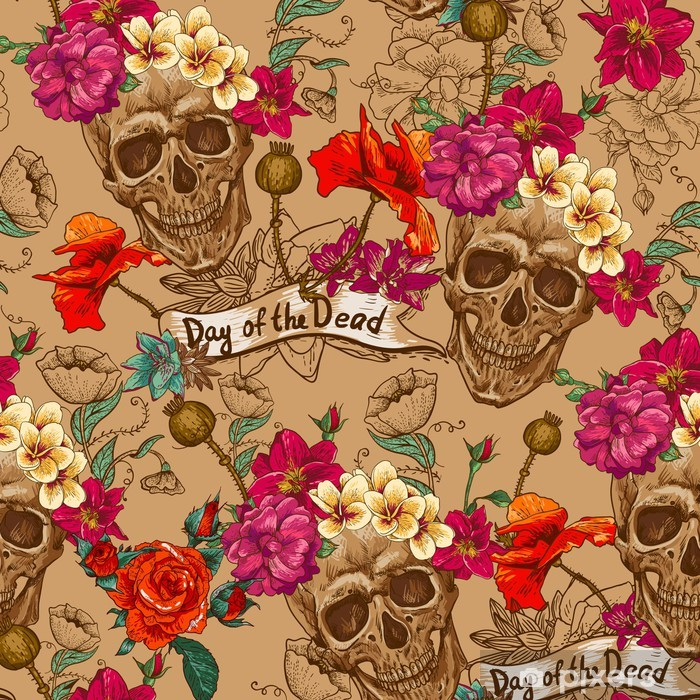 Skull and Flowers Seamless Background Poster - Flowers