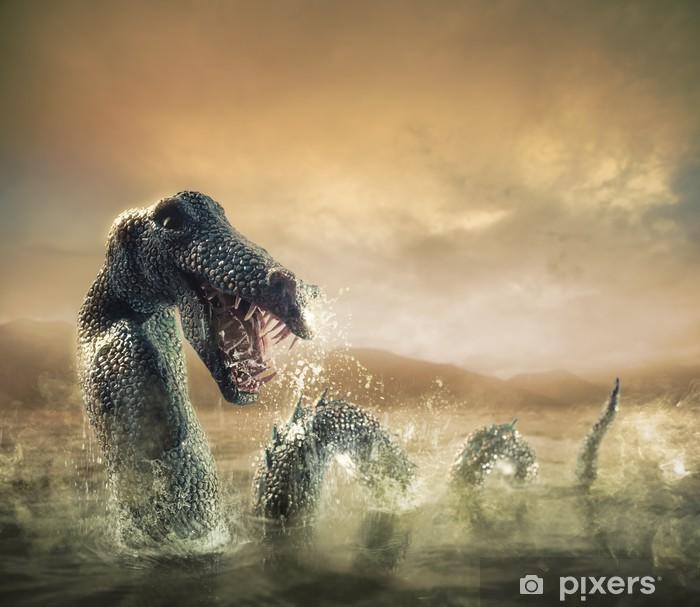 Fototapeta winylowa Straszny Potwór z Loch Ness wyłania się z wody - Tematy