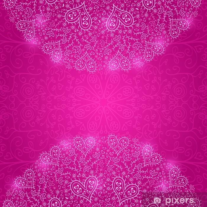 Papier peint vinyle Colorful demi Mandala Décoration avec des coeurs - Bonheur