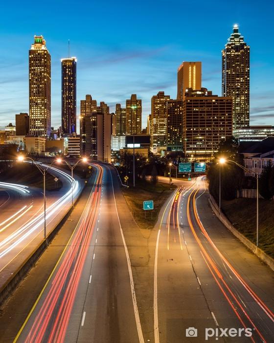 Vinyl Fotobehang Atlanta skyline van het centrum tijdens de schemering blauwe uur - Thema's