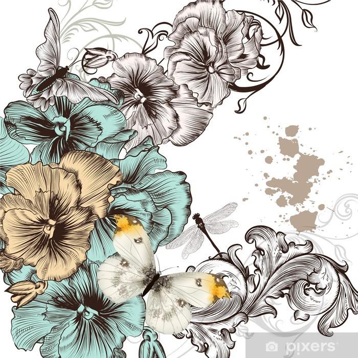 Vinylová fototapeta Grunge vektorové pozadí s násilnými květiny pro konstrukci - Vinylová fototapeta