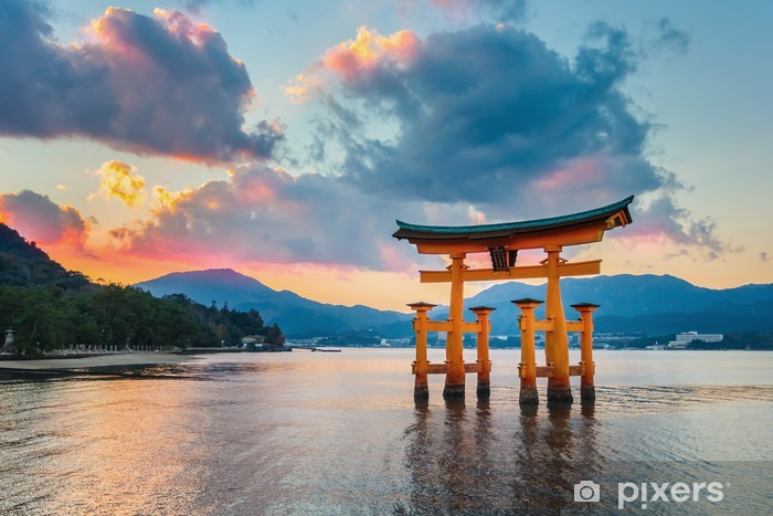 Zelfklevend Fotobehang Grote floating gate (O-Torii) op Miyajima - Thema's