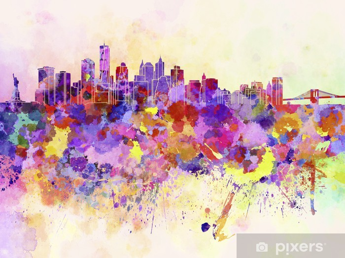 Sticker Pixerstick Horizon de New York en fond d'aquarelle - Styles