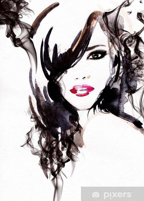 Beautiful woman. watercolor illustration Vinyl Wall Mural - Styles