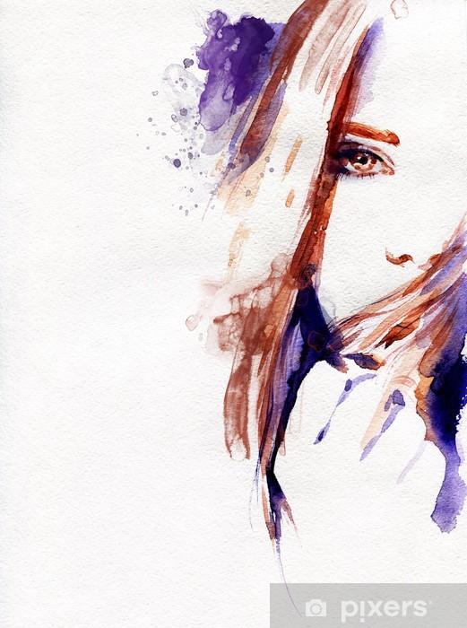 Smuk kvinde. akvarel illustration Selvklæbende fototapet -