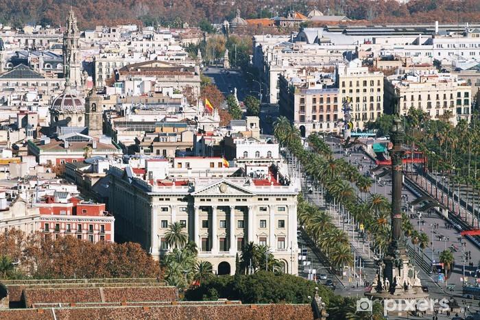 Fototapeta winylowa Barcelona citiycape z pomnikiem Krzysztofa Kolumba - Miasta europejskie