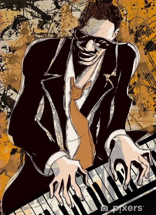 Vinyl Fotobehang Afro amerikaans jazzpianist - jazz