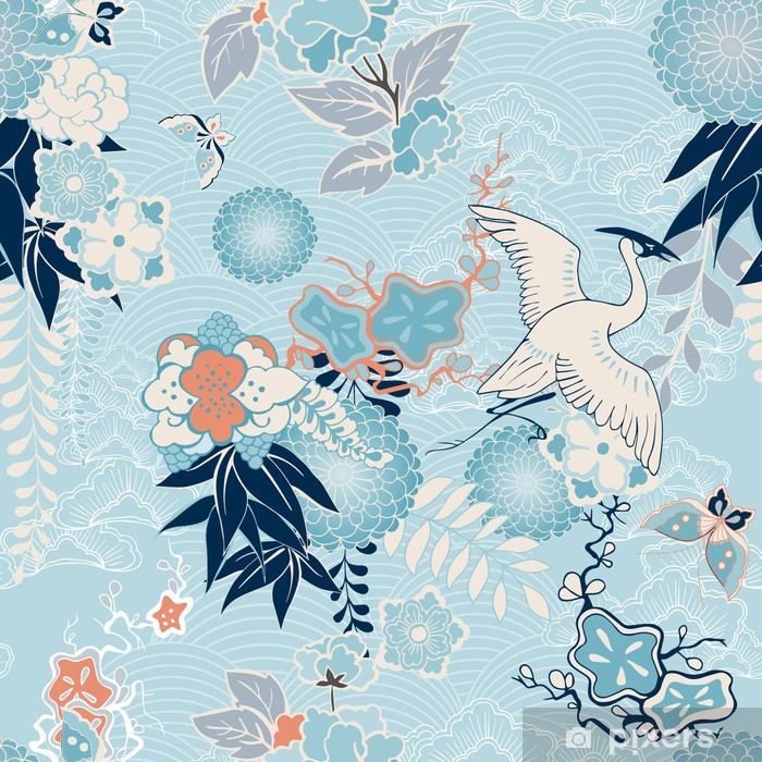 Kimono background with crane and flowers Self-Adhesive Wall Mural - Styles