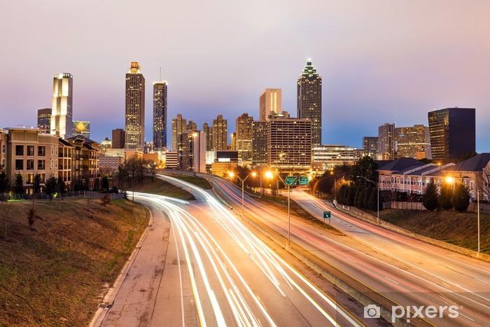 Vinilo Pixerstick Horizonte de la ciudad de Atlanta durante el anochecer - Urbano