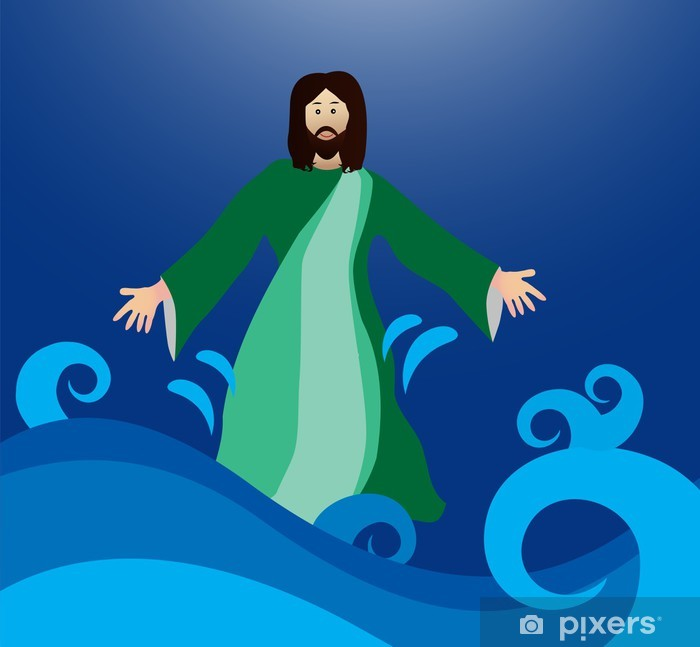 Jesus walking on the water Pixerstick Sticker - Religion