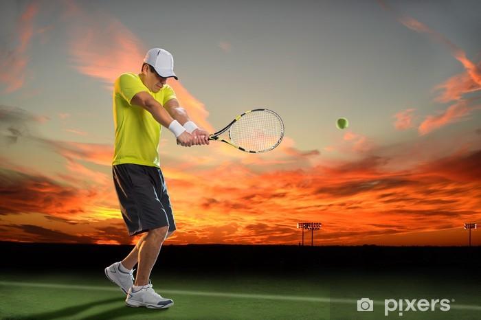 Carta da Parati in Vinile Giocatore di tennis al tramonto - Tennis