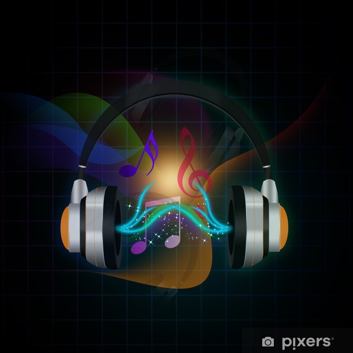 Headphones on abstract background, Vinyl Wall Mural - Music