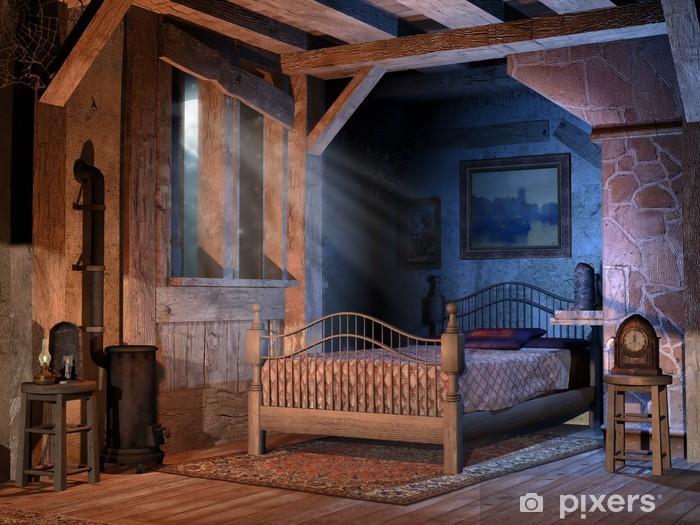 fotobehang slaapkamer in een oud chalet • pixers® - we leven om te