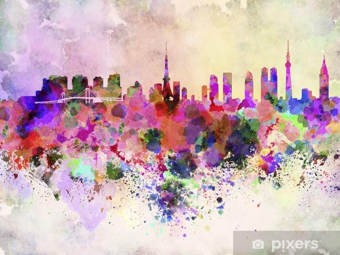 Naklejka Pixerstick Tokio skyline w akwarela - Miasta azjatyckie