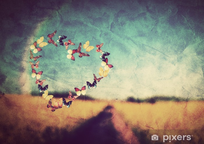 Naklejka Pixerstick Kształt serce z motyli na tle zabytkowe pola - Szczęście