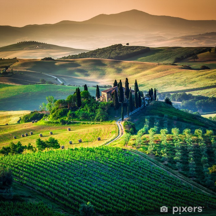 Pixerstick Sticker Toscaanse land - Weiden, velden en gras