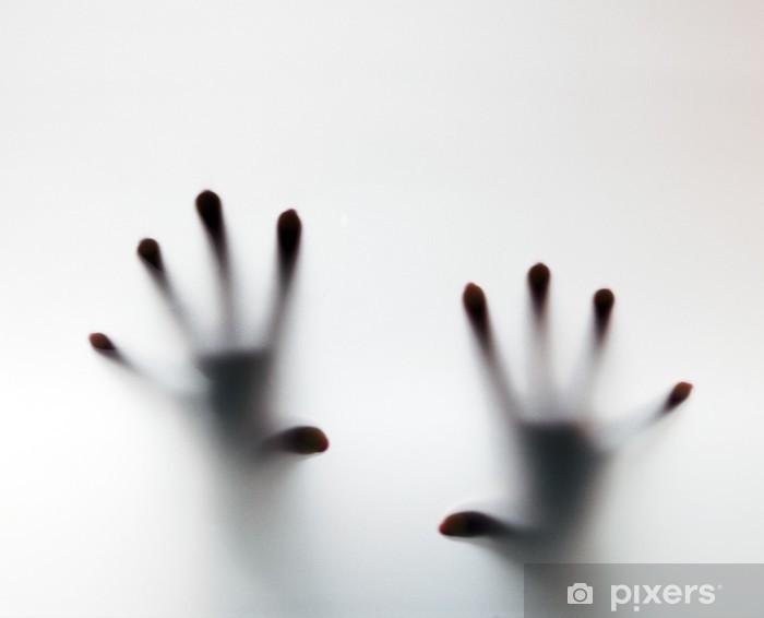Vinyl Fotobehang Handen aanraken van matglas. Conceptuele schreeuw om hulp - Thema's