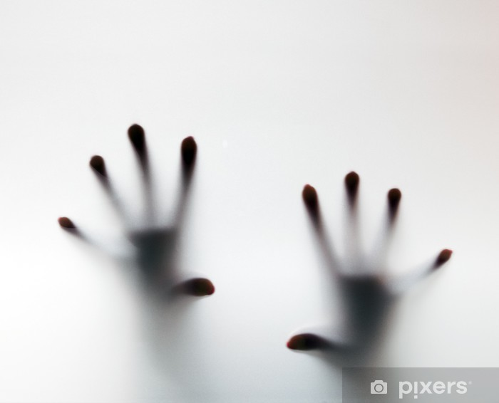 Hands touching frosted glass. Conceptual scream for help Vinyl Wall Mural - Themes