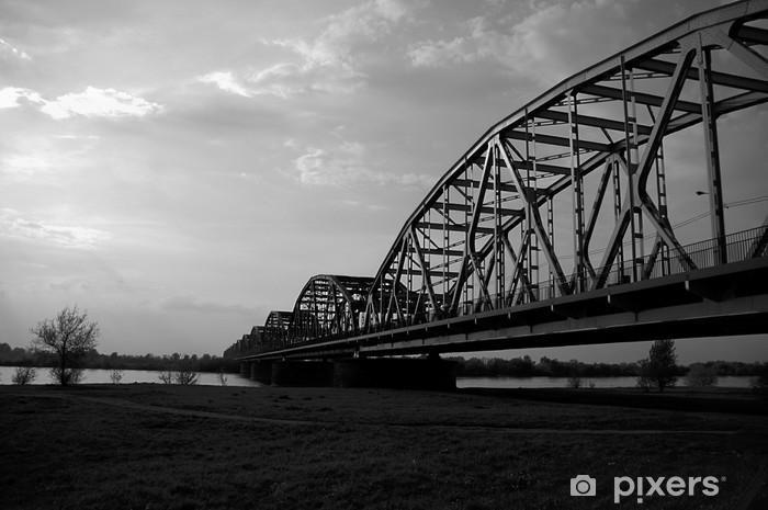 Naklejka Pixerstick Stalowy most na Wiśle w Grudziądzu. - Infrastruktura
