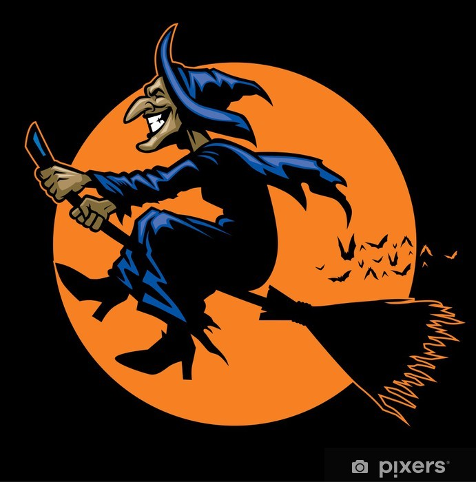 witch ride a flying broomstick Vinyl Wall Mural - International Celebrations