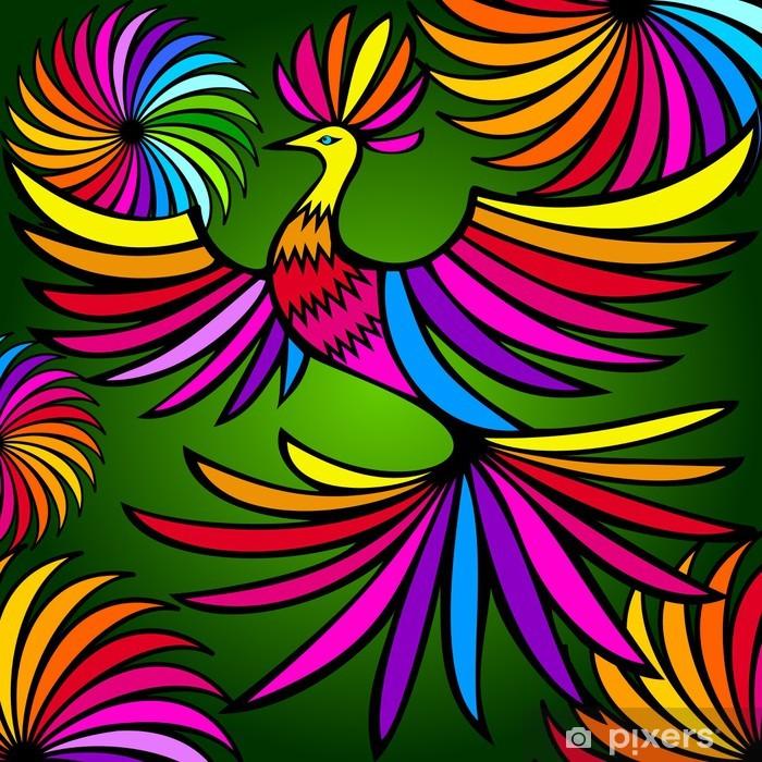 Sticker Pixerstick Oiseau exotique coloré - Animaux imaginaires