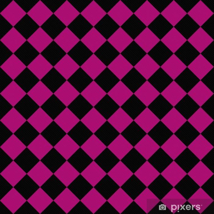 Fotomural Estándar Negro y rosa Damas diagonales sobre fondo de textura de tela - Fondos