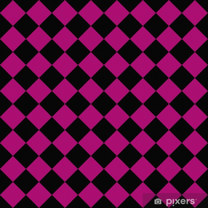 Black and Pink Diagonal Checkers on Textured Fabric Background Vinyl Wall Mural - Backgrounds