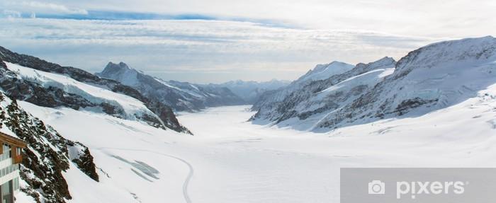 Sticker Pixerstick Panorama scénique de la région de la Jungfrau Grand Glacier d'Aletsch - Europe