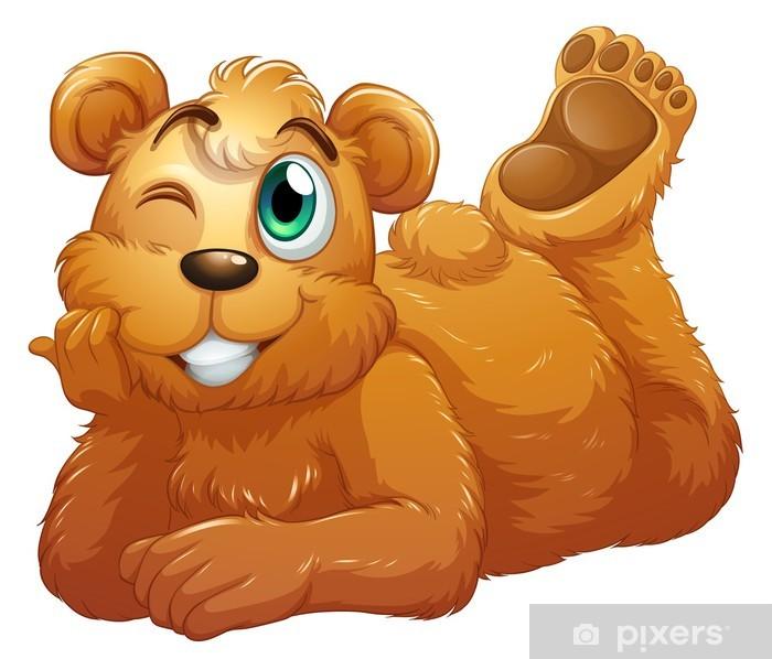Pixerstick Sticker Een bruine beer - Zoogdieren