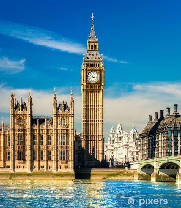 Papier peint vinyle Le Big Ben, la Chambre du Parlement et le pont de Westminster - Thèmes