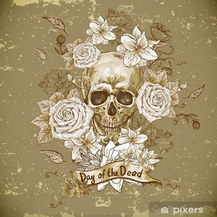 Fototapeta zmywalna Czaszka z różami Święto Zmarłych - Kwiaty