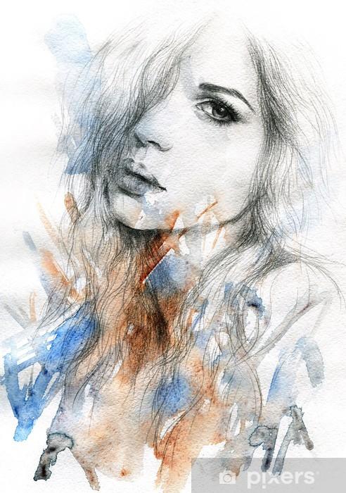 Vinilo Pixerstick Hermosa mujer. ejemplo de la acuarela -