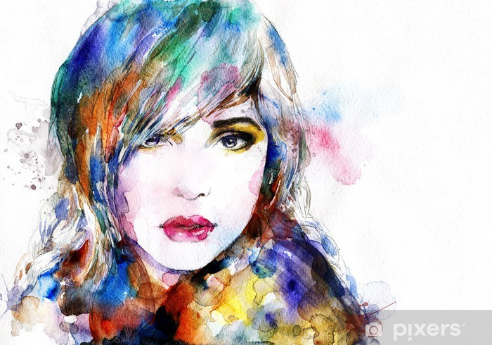 Beautiful Woman Face Watercolor Illustration Wall Mural