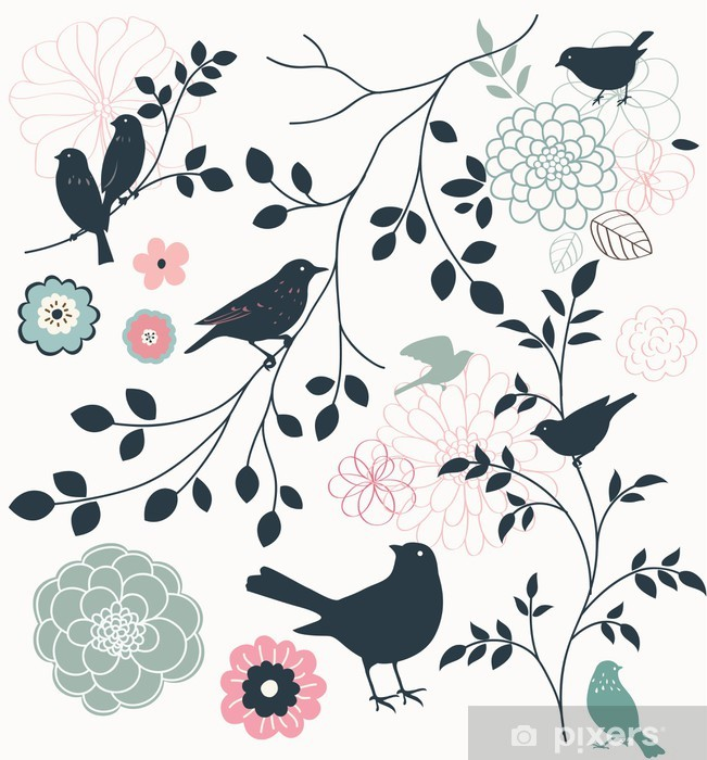 Carta da Parati in Vinile Di uccelli e fiori - Temi