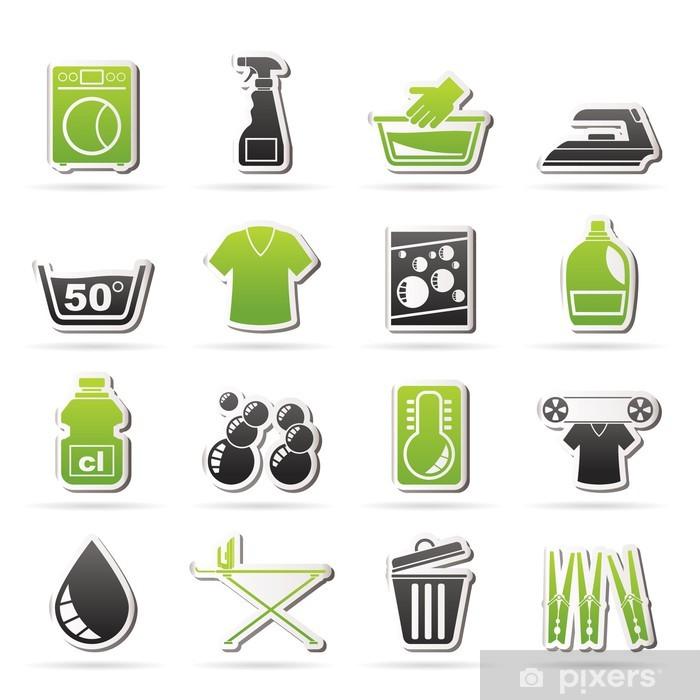 bc9e6939 Pixerstick-klistremerke Vaskemaskin og vaskeri ikoner - vektor ikon sett -  Tegn og Symboler