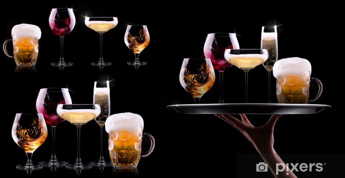 set with different drinks on black background Pixerstick Sticker - Alcohol